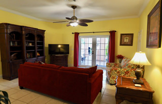 "Second living room & library with a 45"" LCD TV"